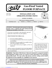 COZY 90N50A And Installation And Operating Instructions Manual (19 Pages).  Gas Fired Vented FLOOR FURNACE