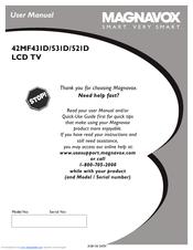 """magnavox 42mf521d hook up guide manuals rh manualslib com 55 Magnavox 1080P LCD HDTV Magnavox 42"""" Plasma"""