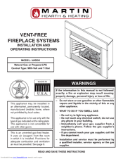 Martin VENT-FREE FIREPLACE SYSTEMS 33ISDG Installation And Operating Instructions Manual