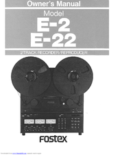 fostex e 2 manuals rh manualslib com