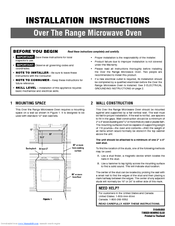 Frigidaire Fgbm185kf Microwave Installation Instructions Manual 24 Pages Over The Range