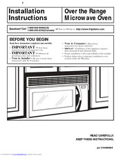 Frigidaire Over The Range Microwave Oven Installation Instructions Manual