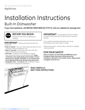 GE Built-In Dishwashe Installation Instructions Manual