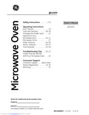 ge jes2051snss manuals rh manualslib com GE Microwave Ovens Countertop GE Spacemaker Over Range Microwave