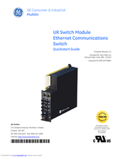 GE UR Switch Module Ethernet Communications Switch Quick Start Manual