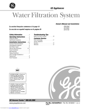 GE SmartWater GX1S01C Owner's Manual And Installation