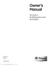 GE All-Refrigerators and All-Freezers Owner's Manual