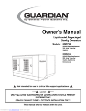 Generac Power Systems Guardian 004373-6 Owner's Manual