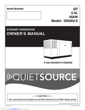 Generac Power Systems QuietSource 005262-0 Owner's Manual
