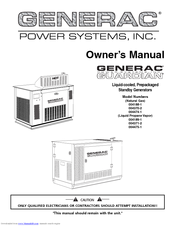 Generac Power Systems Guardian 004188-1 Owner's Manual