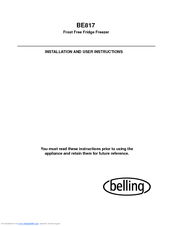 Belling BE816 Installation And User Instructions Manual
