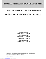Haier AS182XVERA Operation And Installation Manual