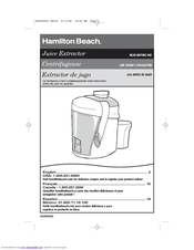 hamilton beach 67801 healthsmart juice extractor manuals rh manualslib com Hamilton Beach Juicer Model 932 Big Mouth Juicer Replacement Parts For
