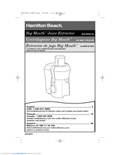 Hamilton Beach 67650 - Big Mouth Pro Juice Extractor Use & Care Manual