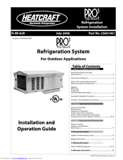 Heatcraft Refrigeration Products PRO3 Top Mount PTT099H2B Manuals