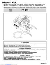 Hitachi EC189 - Lon Wheelbarrow Air Compressor Safety Instructions