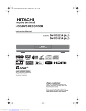 Hitachi DV-DS163A Instruction Manual