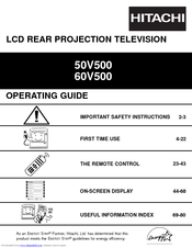 hitachi 50v500 ultravision digital 50 rear projection tv manuals rh manualslib com Hitachi Projection TV hitachi projectors manual cp-dx301
