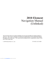 Honda 00X31-SCV-8000 Navigation Manual
