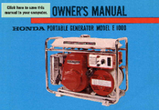 Honda E1000 Owner's Manual