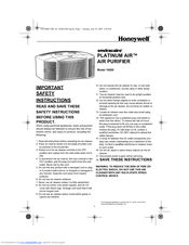 Honeywell 16200 - Consumer Products - Room Air Purifier Instructions Manual