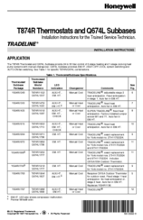 Honeywell Super Tradeline T874R Installation Instructions Manual