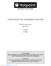 Hotpoint aquarius vtd20 instructions for installation and use manual hotpoint aquarius vtd20 instructions for installation and use manual pdf download asfbconference2016 Image collections
