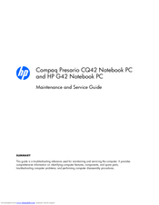 hp compaq presario g42 maintenance and service manual pdf download rh manualslib com compaq presario cq40 repair manual hp compaq presario cq40 service manual
