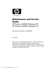 HP Pavilion DV8285 Maintenance And Service Manual