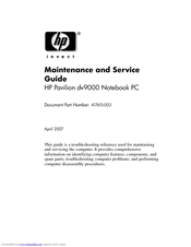 hp dv9000 maintenance and service manual pdf download rh manualslib com hp dv9000 service manual hp pavilion dv9000 service manual