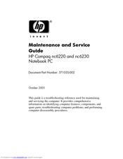HP Compaq nc6230 Maintenance And Service Manual