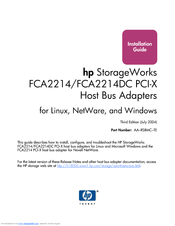 HP FCA2214DC PCI-X Installation Manual
