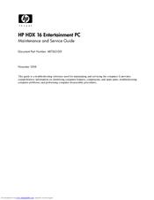 hp hdx 16 maintenance and service manual pdf download rh manualslib com HP HDX16 Notebook PC HP HDX16 Notebook PC