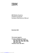 IBM ThinkPad MT 1833 Hardware Maintenance Manual