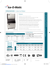 ice o matic ice0250 series manuals ice o matic ice0250 series specification sheet