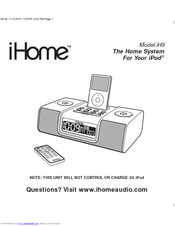 ihome ih9 manuals rh manualslib com iHome iPod Docking Station Manual iHome Alarm Clock