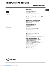 indesit wil 103 manuals rh manualslib com Bissell PowerSteamer User Manual indesit wil103 user manual