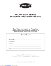 jacuzzi fuzion 7260 manuals rh manualslib com jacuzzi tub instruction manual Imperial Spas by Jacuzzi Manual