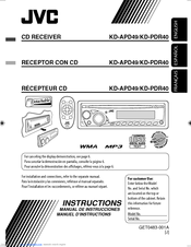 jvc kd pdr40 radio cd manuals rh manualslib com jvc car radio user manual JVC Owner's Manual