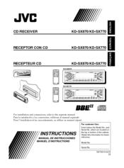 Jvc KDSX770 - In-Dash CD Player Manuals