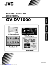 JVC VIDEO NAVIGATOR GV-DV1000 Before Using