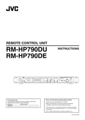 JVC RM-HP790DE Instruction Manual