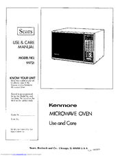 Kenmore 99721 Use And Care Manual