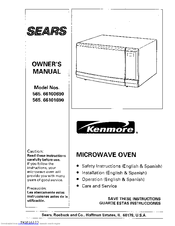 Kenmore 565 66100690 Owner S Manual 160 Pages Microwave Oven User