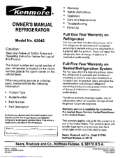 Kenmore 6204 - 10.3 cu. Ft. Top Freezer Refrigerator Owner's Manual