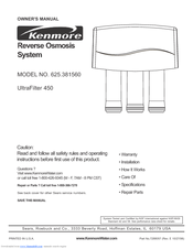Kenmore 625.385560 UltraFilter 650 Owner's Manual