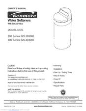 Kenmore ultrasoft 275: water system user manual.
