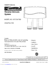Kenmore 625.38156 Owner's Manual