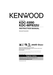 Kenwood KDC-X890 Instruction Manual