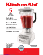 KitchenAid - KSB560CV Blender With Polycarbonate Jar Instructions And Recipes Manual